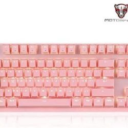 Motospeed CK82 USB Wired Mechanical Keyboard 87 Keys PINK -BLACK (RED SWITCH )