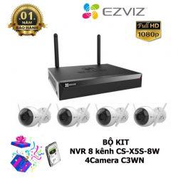C3WN và 1 đBộ Kit Camera IP Ezviz 4 camera CS-ầu ghi CS-X5S-8W Full HD ( Tặng Kem Ổ Cứng Chuyên Camera 1TB)
