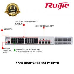 Switch Ruijie XS-S1960-24GT4SFP-UP-H Layer 2+ Smart , POE Switches
